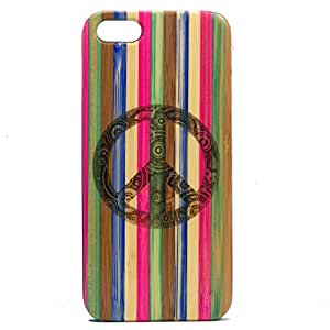 Peace Sign iPhone 4 4S Case Bamboo Neon Candy Stripe Rainbow Dyed Wood Phone Cover Protective Skin Hippie Chic