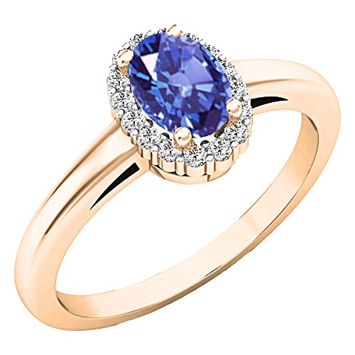 Dazzlingrock Collection 14K 6X4 MM Oval Tanzanite & Round Diamond Ladies Halo Engagement Ring, Rose Gold, Size 8.5 ()