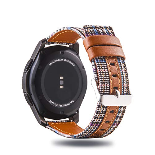 Genuine Leather/Cotton Fabric Band Strap Stylish Accessory Wristband Bracelet Compatible with Samsung Galaxy Watch 46mm, Samsung Gear S3 Frontier/S3 Classic Smartwatch (Color A3)