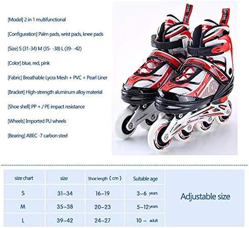 Pink-M Quad Rollerskates Adjustable Roller Skates Kids Boys Girls Beginners Adults Single Wheel Double Wheels Skate Combo 35-38
