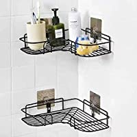 Rixim Self-Adhesive Stainless Steel Bathroom Corner Shower Caddy Bathroom Self Wall Hanging Storage Organizer Kitchen Rack with Shampoo, Soap Holder Rack