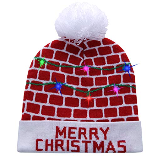 W-plus Ugly LED Christmas Hat Novelty Colorful Light-up Stylish Knitted Sweater Xmas Party Beanie Cap (Xmas 011) -