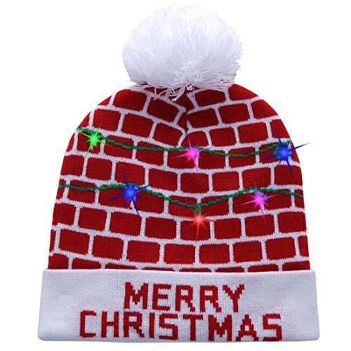 W-plus Ugly LED Christmas Hat Novelty Colorful Light-up