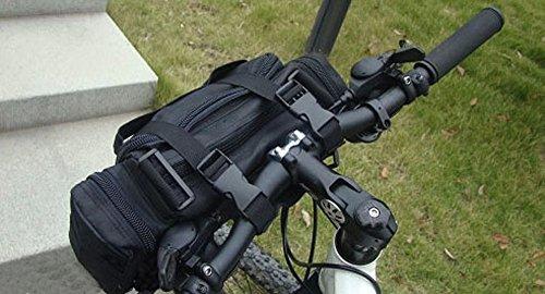BXT Multifunktionale Fahrradtasche Lenkertasche 800D Oxford Fahrradlenkertasche mit Verstellbaren Schultergurt Radtasche zur Befestigung am Lenker (Schwarz/Armee-Grün) Schwarz