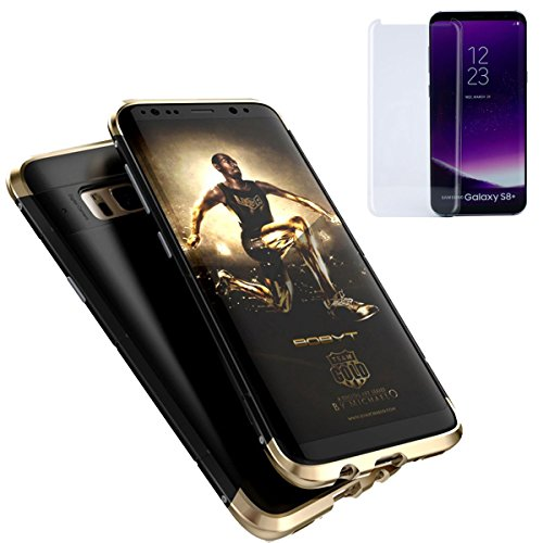 Armor Metal Hybrid (Galaxy S8 Plus Metal Case, AICase Full Body Shockproof Heavy Duty Hybrid Protector Cover 3 in 1 (Metal Head and Bottom+Hard PC Back)Extra Screws for Samsung Galaxy S8 Plus (Gold/Black+Tempered Glass))
