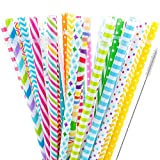 40 Pieces Reusable Straws,BPA-Free,9' Colorful Printing Hard Platic Stripe Drinking Straw for Mason Jar Tumbler,Family or Party Use,Cleaning Brush Included(Random Pattern)