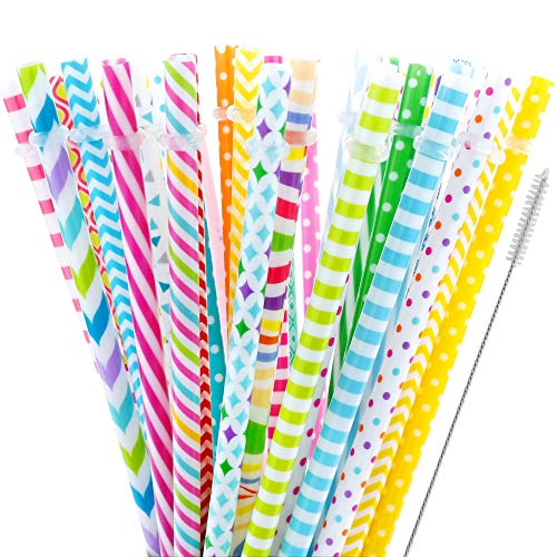 40 Pieces Reusable Straws,BPA-Free,9 Colorful Printing Hard Platic Stripe Drinking Straw for Mason Jar Tumbler,Family or Party Use,Cleaning Brush Included(Random Pattern)