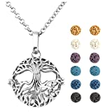 Jovivi Aromatherapy Essential Oil Diffuser Tree Of Life Locket Pendant Necklace 28'' w/12 Dyed Lava Stones and Gift Box