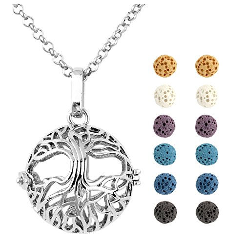 Jovivi Aromatherapy Essential Oil Diffuser Tree Of Life Locket Pendant Necklace 28'' w/12 Dyed Lava Stones and Gift Box by Jovivi