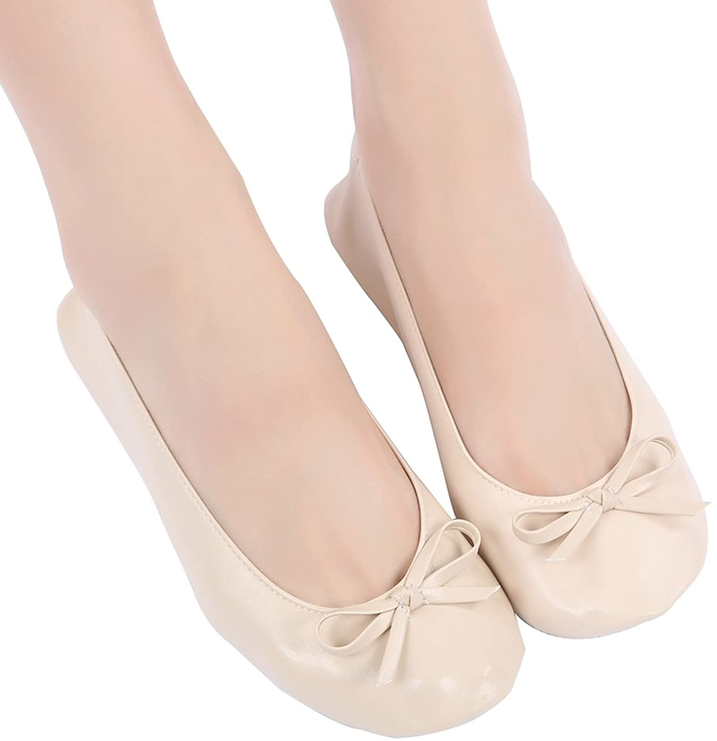 Aohaolee Beige Women Portable Roll Up Ballerinas Foldable Ballet Flat Shoes  With Carrier Pouch Bag: Amazon.co.uk: Shoes & Bags