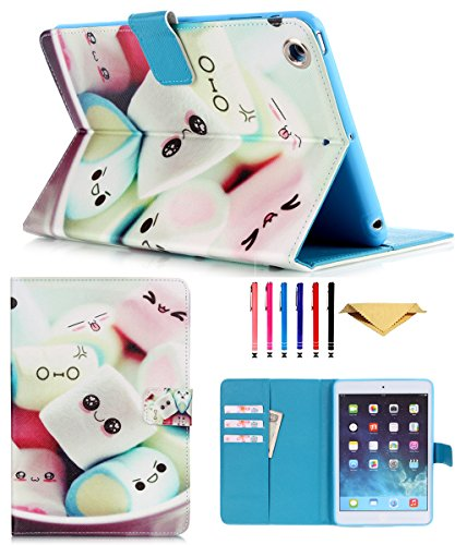 iPad Mini Case,Monstek Mini 2 3 Synthetic Leather Case Smart Kickstand Case Cover Flip Wallet Protective Case Cover for iPad Mini 1 2 3(01 Marshmallow)