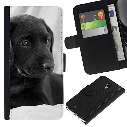 EuroCase - Samsung Galaxy S4 Mini i9190 MINI VERSION! - curly coated black short hair retriever dog - Cuero PU Delgado caso cubierta Shell Armor Funda Case Cover