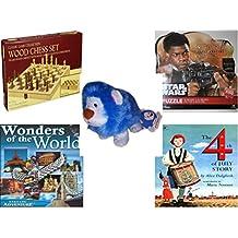 "Children's Fun & Educational Gift Bundle - Ages 6-12 [5 Piece] - Classic Wood Folding Chess Set Game - Star Wars The Force Awakens Finn 1000 Piece Puzzle - Neopets PetPet Blue ""Noil"" Lion Plush Toy"