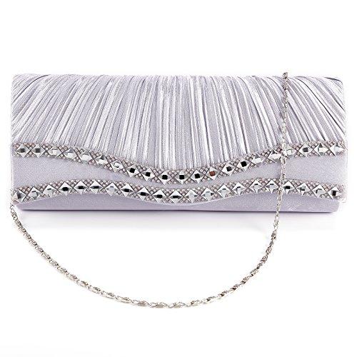 Damen Strass Fashion Handtasche Clutch Abendtasche Brauttasche Hochzeit Party Silber