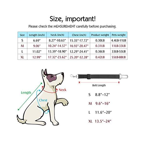 Pawaboo Dog Safety Vest Harness, Pet Dog Adjustable Car Safety Mesh Harness Travel Strap Vest with Car Seat Belt Lead Clip. 5