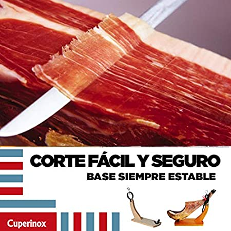 CUPERINOX Jamonero Profesional | Soporte jamonero Tipo Gondola| Base de Corte para Usar con Cuchillo jamonero | Jamon iberico