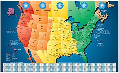 Amazon Com North America Laminated Gloss Full Color Time Zone Area Code Map Incudes Reverse Lookup Desk Size Large 11 X 17 Wall Maps Office Products