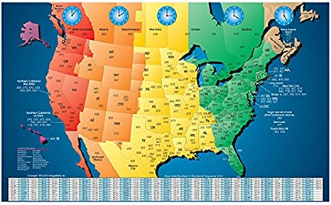 North America Laminated Gloss Full Color Time Zone Area Code Map incudes  Reverse Lookup Desk Size Large 11 x 17