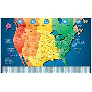 Amazon north america laminated gloss full color time zone area north america laminated gloss full color time zone area code map incudes reverse lookup desk size gumiabroncs Image collections