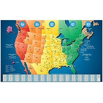 Amazon.com : North America Laminated Gloss Full Color Time Zone Area ...