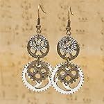 Hi-Unique UINKE Vintage Bronze Steampunk Cogwheel Wristwatch Gear Earrings Goth Punk Dangle Earrings Jewerly 7