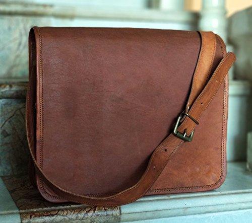 kk's 9'x 7' inch Vintage genuine vintage leather ipad/tablet/tab/kindle satchel crossbody shoulder messenger bag