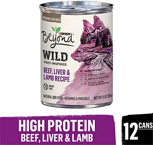 Purina Beyond High Protein, Grain Free, Natural Pate Wet Dog Food, WILD Beef, Liver & Lamb Recipe - (12) 13 oz. Cans