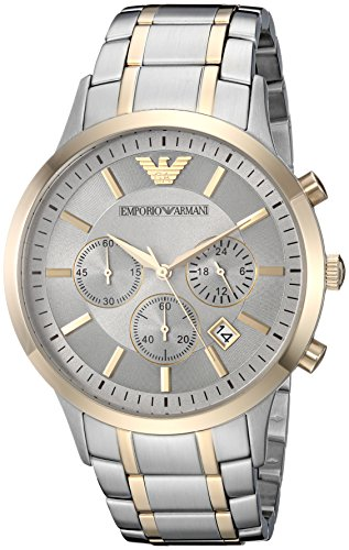 Emporio Armani Men's 'Dress Quartz Stainless Steel Casual Watch, Color:Silver-Toned (Model: AR11076)