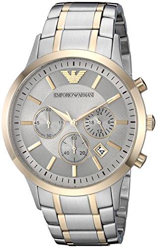 (Emporio Armani Men's Dress Watch Quartz Stainless-Steel Strap, Silver, 13 (Model: AR11076))