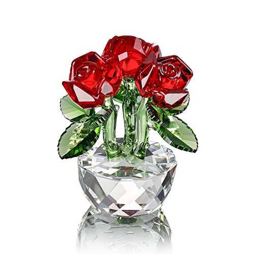 H&D Red Crystal Rose Bouquet Flowers Figurines Ornament with Gift box