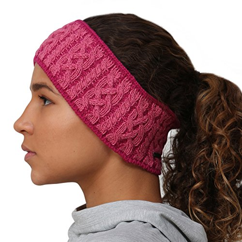 TrailHeads Cable Knit Women's Winter Headband - light rose/raspberry -