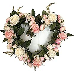 Lanlan Beautiful Artificial Simulation Flowers Garland for Wedding Car Home Room Garden Decoration ,Heart-shaped