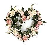 Haperlare Handmade Pink Heart Wreath Rose Wreath Floral Artificial Simulation Garland Door Wreath for Home Door Wedding Christmas Party Decoration 13 inch