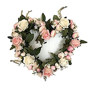 Lingstar Classic Artificial Simulation Flowers Heart-shaped Garland for Home Room Garden Lintel Decoration,Pink Rose