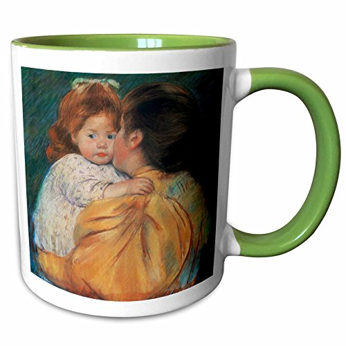 3dRose BLN Paintings of Children Fine Art Collection - Maternal Kiss, 1896 by Mary Cassatt - 15oz Two-Tone Green Mug (mug_169800_12)