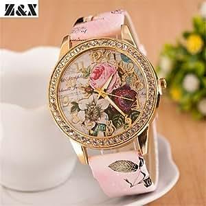 Reloj de flores de diamantes collar de cuarzo analógico de Bohemia de las mujeres (colores surtidos) ( Color : Rosa )
