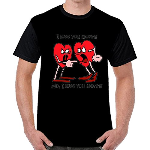FunnyKing Funny Love Men Printed Round Neck t Shirts Short Sleeve T-Shirt Black