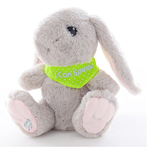 Talking Record Plush Interactive Bunny, Repeats What You Say Plush Rabbit Toy Funny Birthday Gift Kids Early Learning,Color Gray -