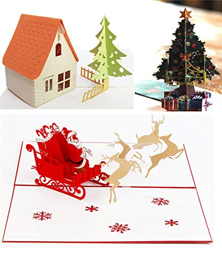 Christmas Card Set Santa Sleigh 3D Pop up Greeting Card with Envelope New Year Holiday Card Christmas Tree with Bell and Star Christmas Home Decoration