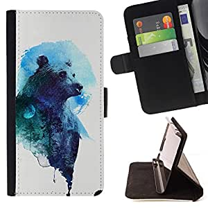 - Bear Art Drawing Watercolor Blue Grizzly/ Personalized Design Custom Style PU Leather Case Wallet Flip Stand - Cao - For HUAWEI P8 Lite