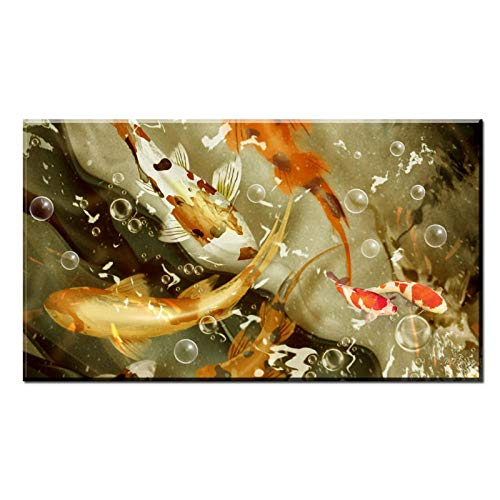 dayanzai Classic Chinese Calligraphy Painting Lotus Flower Koi Fish On Canvas Wall Art Decor Picture for Living Room Sofa-60X120Cm No Frame Chinese Calligraphy Picture Frame