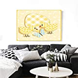 """Baby Wall Art Canvas Prints Abstract Chick Design with Plaid Pattern Butterfly Giant Egg Funny Ready to Hang for Home Decorations Wall Decor 48""""x32"""" Yellow Pale Yellow Pale Blue"""
