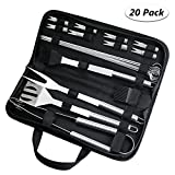 Fixget 20Pcs Barbecue Tool, Stainless Steel BBQ Tools Sets BBQ Grill Tool Kit