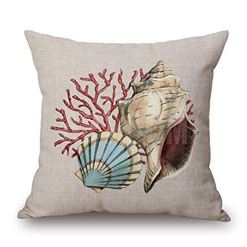 "Price comparison product image Happy Cool Cotton Linen Square Mediterranean Sea Decorative Throw Pillow Cushion Cover 18""x 18"" Starfish"