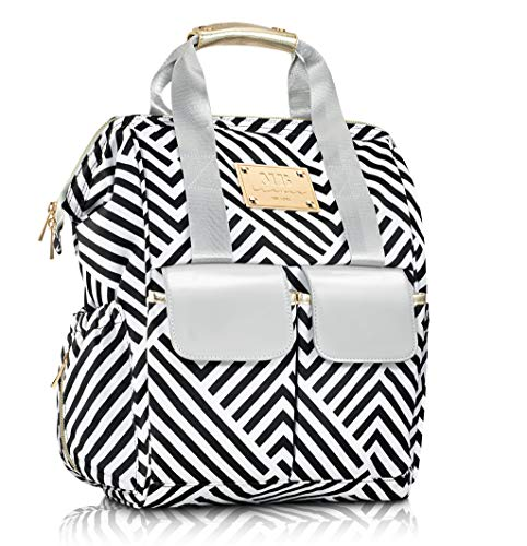 Designer Diaper Bag Backpack by MB Krauss - Large Women's Diapering Backpack with Multiple Pockets, Luxurious Design - Bonus Changing PAD Clutch & Bottle Warmer (Black and White)