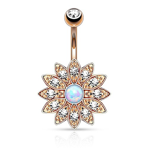 Opal Belly Button Ring Crystal Jeweled Flower Navel Barbell Body Piercing Jewelry Rose Gold