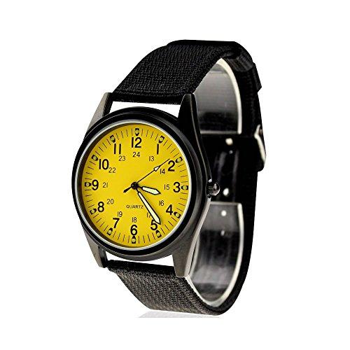 KTC Fashion Black Case Yellow Dial Nylon Fabric Strap Wrist Watch ORK075 (Yellow Womens Dial)
