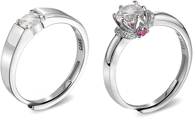 Amazon Com Zobdx His And Hers Wedding Ring Sets Size Adjust