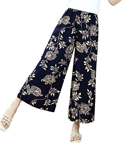 PGCTE Women's Casual Comfy Elastic Waist Trousers Floral Culottes Wide Leg Pants with Pockets Color 8 Size L - Floral Wide Leg Trouser