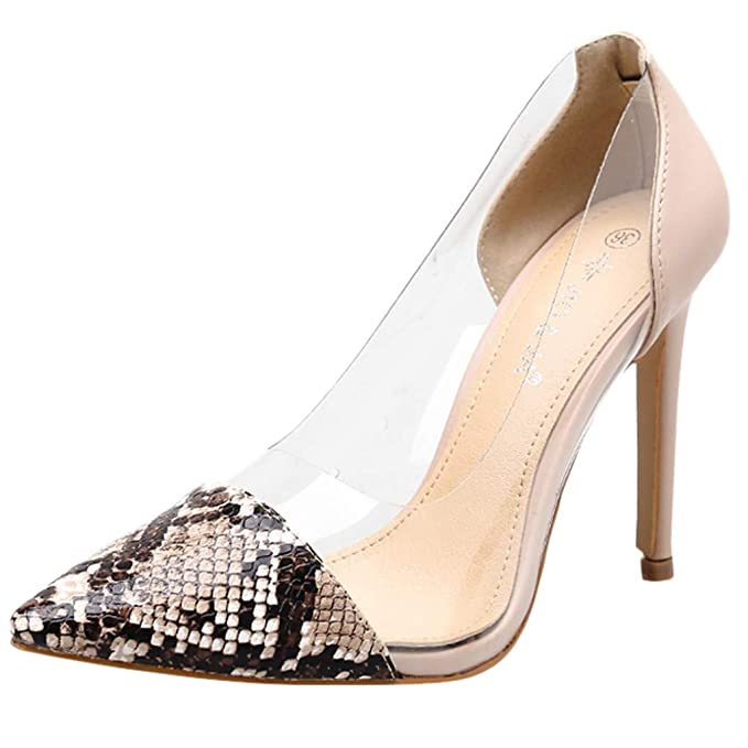 68055d9e9 DENER❤️ Women Ladies Pumps Stilettos Dress Shoes,Transparent Snakeskin  Pointed Toe Wide Width Casual